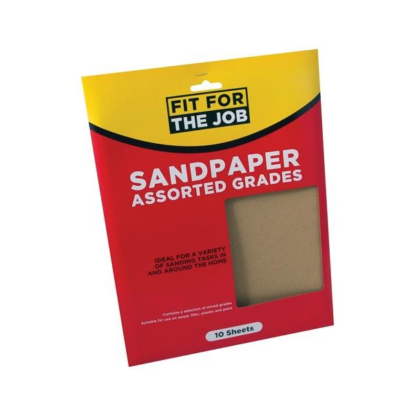 RODO FIT FOR THE JOB SANDPAPER 10 ASSORTED SHEETS (FFJASP10A)
