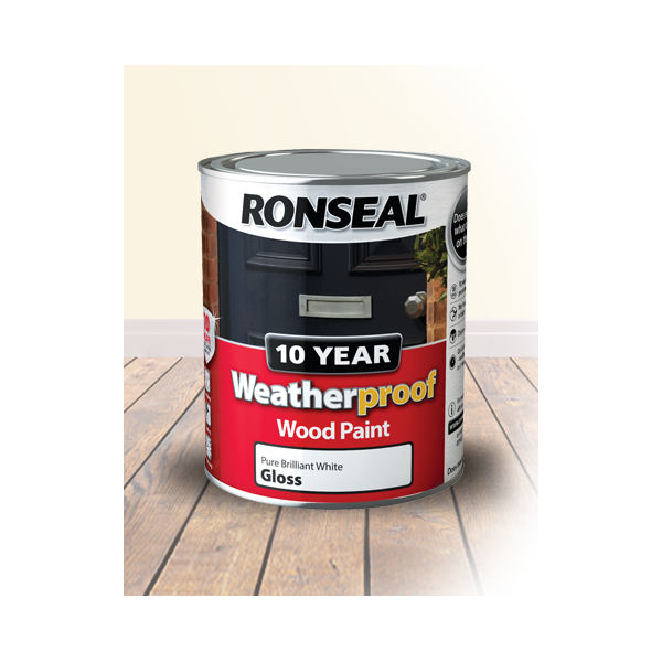 Ronseal 10 Year Wood Paint Gloss Brilliant White 750mls Winterstoke Decorator Supplies